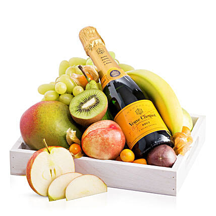 Fruit Tray With Veuve Clicquot: Hanukkah Gifts in Germany