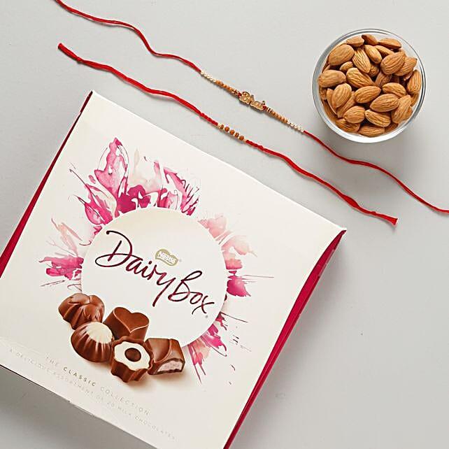 Bhaiya Rakhi Set with Dairy Box Chocolates Hamper: Rakhi With Dryfruits to Germany
