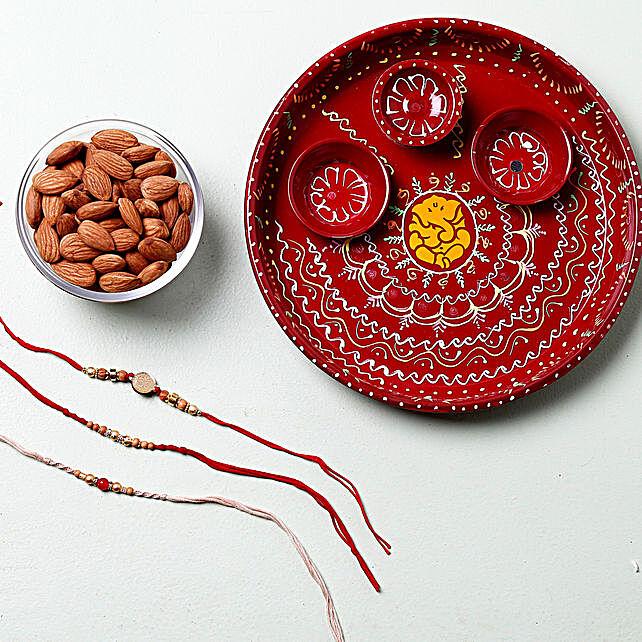 Dry Fruit Rakhi Set Pooja Thali Hamper: Rakhi and Dry Fruits to Germany