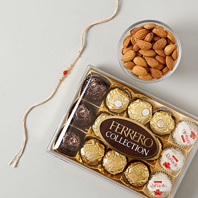 Moti Rakhi with Ferrero Rocher Collcetion Hamper: Rakhi With Dryfruits to Germany