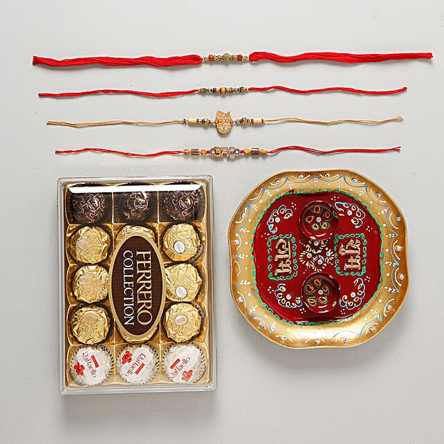 Family Rakhi Set with Pooja Thali Chocolate Hamper: Rakhi Pooja Thali to Germany