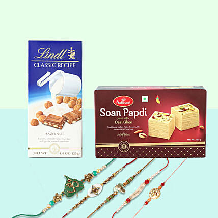 Lindt And Soan Papdi With 5 Rakhis: Rakhi with Sweets to Germany