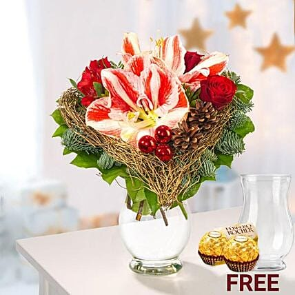 Amaryllis Arrangement With Rochers: Flowers and Chocolates to Germany