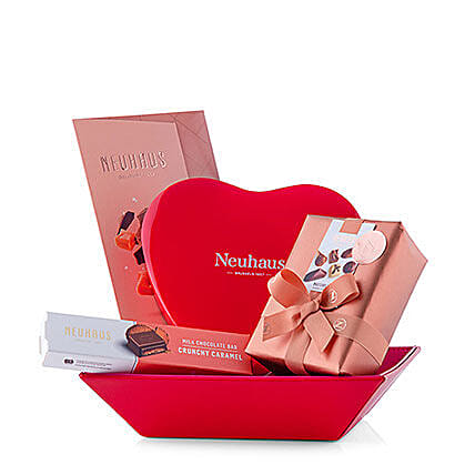 Exotic Neuhas Chocolates Red Basket: Gift Baskets to Germany