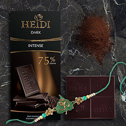 Heidi Intense Dark Chocolate Rakhi Combo: Single Rakhi Delivery in Hong-Kong