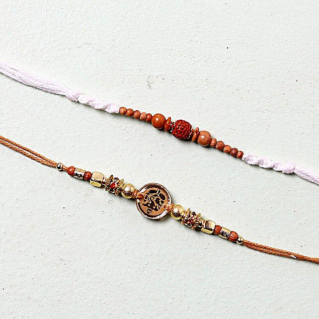 White Rudraksha Rakhi Set: Set of 2 Rakhi to Hungary