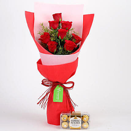 8 Red Roses With Ferrero Rocher Combo: Anniversary Gift Delivery in Indonesia