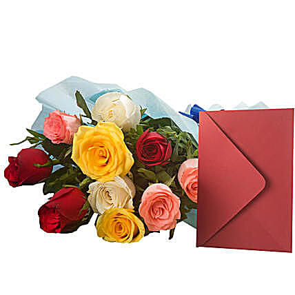 Mix Roses N Greeting Card: Send Friendship Day Gifts to Indonesia
