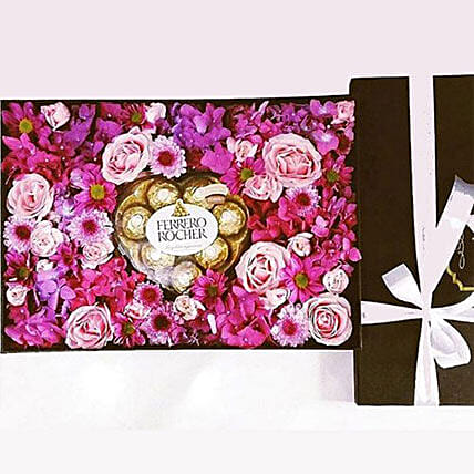 Chocolate And Flower Box: Birthday Gift Delivery in Indonesia
