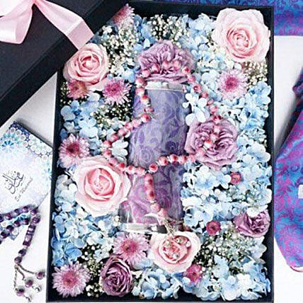Flower Box With Pashmina And Tasbih: Birthday Gift Delivery in Indonesia