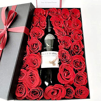 Elegant Red Wine N Red Rose Combo: Valentine's Day Gifts to Indonesia