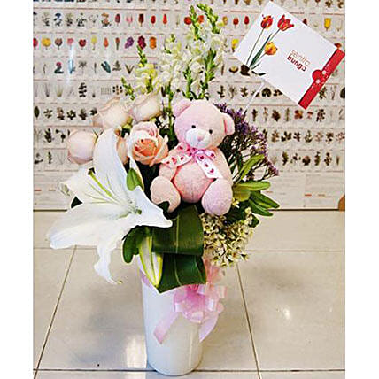 Pink Blush And Teddy Bear Combo: Valentine's Day Gifts to Indonesia