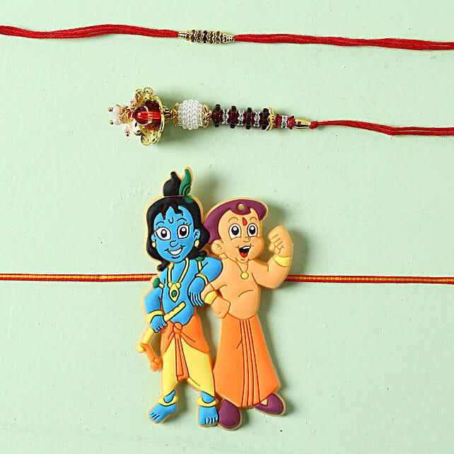Bhaiya Bhabhi Krishna Rakhi Set: Rakhi for Bhaiya Bhabhi in Ireland