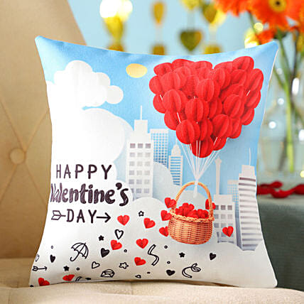 Flying Heart Balloon Printed Cushion: Send Valentines Day Gifts to Ireland