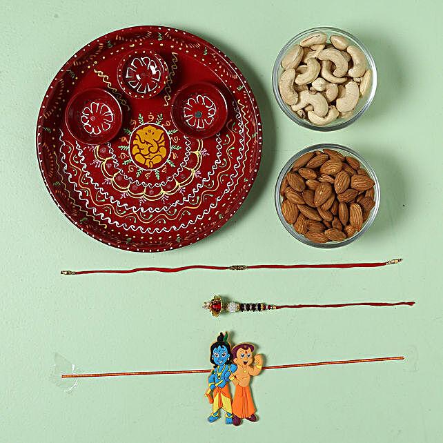 Bhaiya Bhabhi Rakhi Pooja Thali Dry Fruit Hamper: Rakhi with Chocolates to Italy