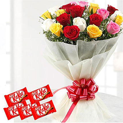 Thrilling Flowers And Choco Combo: Flower Delivery in Kuwait