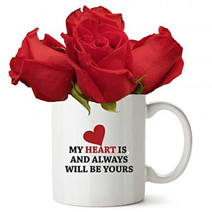 Love Quote Mug With Red Roses: Send Thank You Gifts to Kuwait