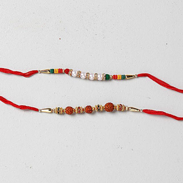 Beads And Rudraksha Rakhi Combo: Set Of 2 Rakhi To Kuwait