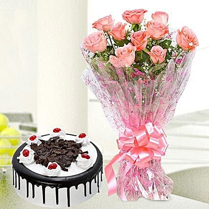 10 Pink Roses And Black Forest Cake Flowers Bos Cakes Flower Delivery