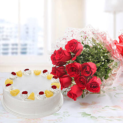 10 Red Roses And Pineapple Cake Combo: Flowers & Cake Combos