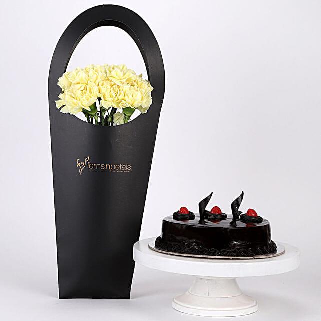 10 Yellow Carnations & Truffle Cake Combo: Send Carnations
