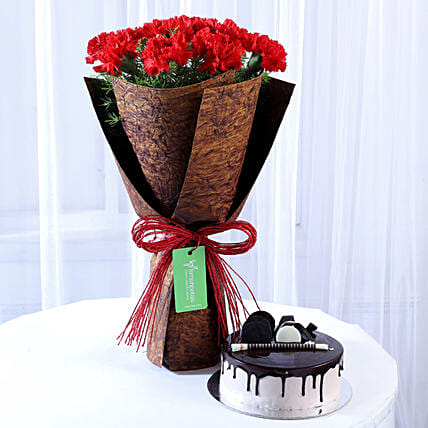 12 Beautiful Red Carnations & Chocolate Cake: Flowers N Cakes For Anniversary