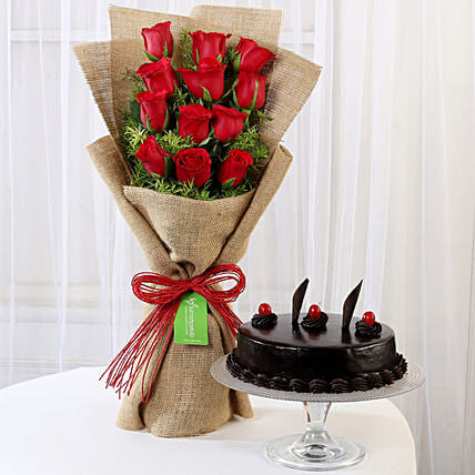 12 Layered Red Roses Bouquet & Truffle Cake: Buy Flowers Combo