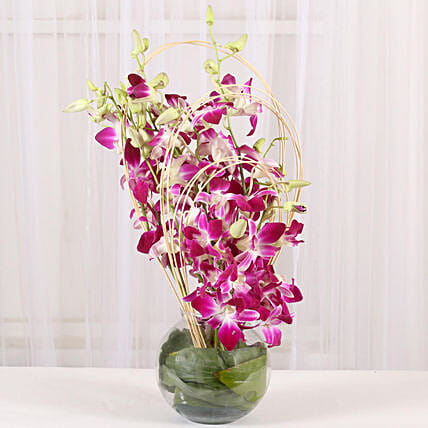 Purple Orchids Vase Arrangement: Gifts to India