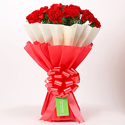 12 Red Carnations Bouquet in Red & White Paper: Flowers for Anniversary