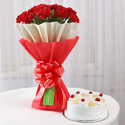 12 Red Carnations Pineapple Cake Combo Flowers Combos