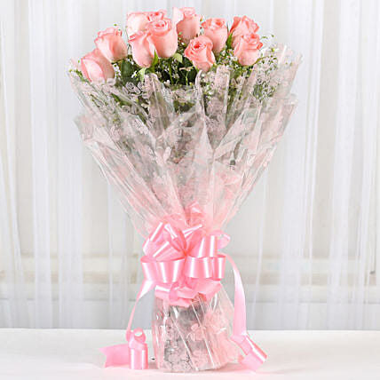 12 Splendid Pink Roses Bouquet: Gifts to India
