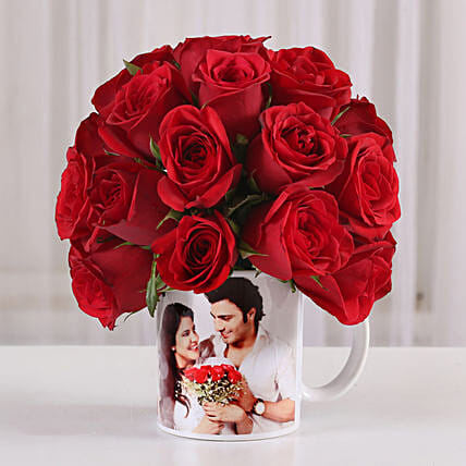 20 Red Roses in White Personalised Mug: