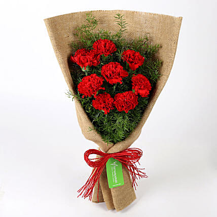 Send Carnations Flowers Online White Carnations Ferns N Petals