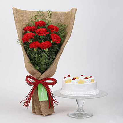 8 Red Carnations & Pineapple Cake: Cakes Combo