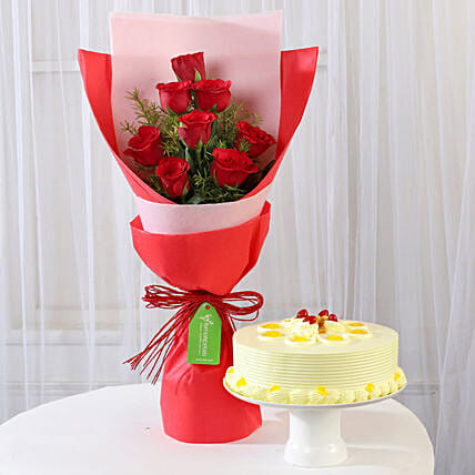 8 Red Roses with Butterscotch Cake Combo: Flowers & Cake Combos