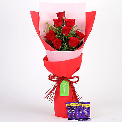8 Red Roses with Dairy Milk Combo: Combo Gifts