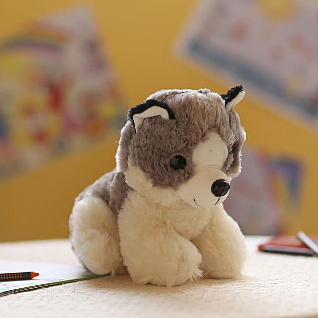 Adorable Grey & White Dog Soft Toy: Send Soft Toys