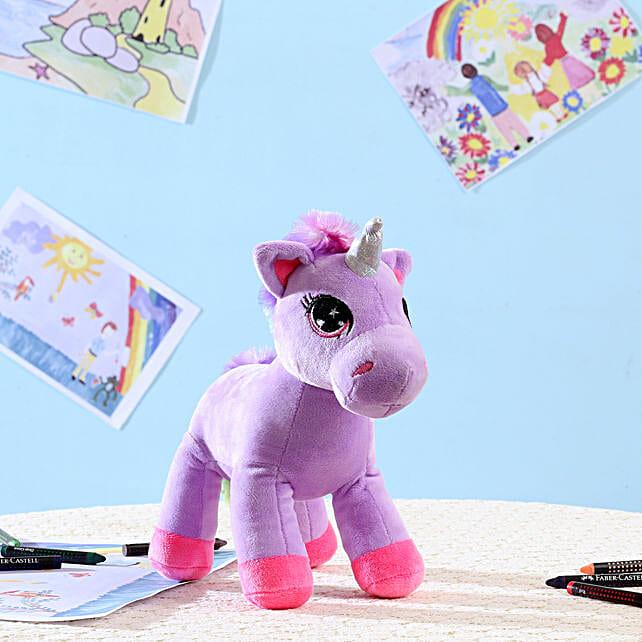 Adorable Purple Unicorn Soft Toy: Send Soft Toys