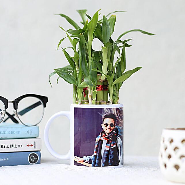 Bamboo Plant in Personalised White Mug: Custom Photo Coffee Mugs