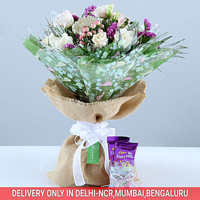 Beautiful Bouquet & Dairy Milk Combo: Cadbury Chocolates