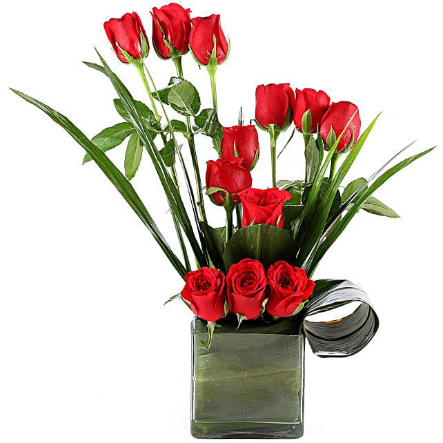 Beautiful Red Roses Vase Arrangement Fresh Flower