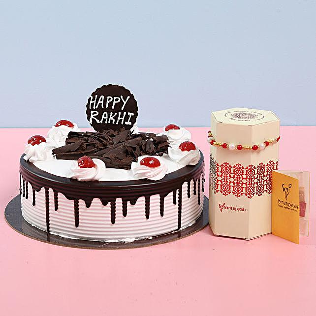 Black Forest Cake With Rakhi: Rakhi with Cakes