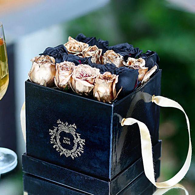 Black & Gold Sprayed Rose Box: Flower Arrangements