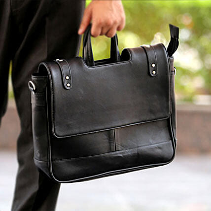 Black Office Bag: Leather Gifts