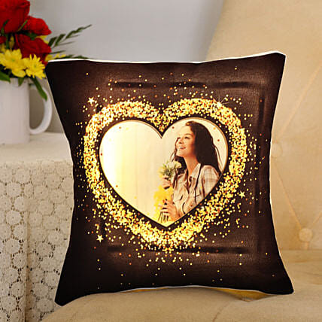 Blingy Heart Personalised LED Cushion: Cushions