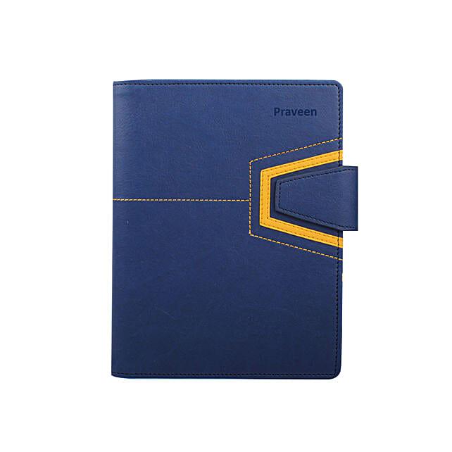 Blue Leather Personalised Organiser: