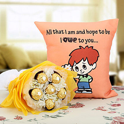 Ferrero Rocher Bouquet & Cushion Combo: Send Chocolate Bouquet