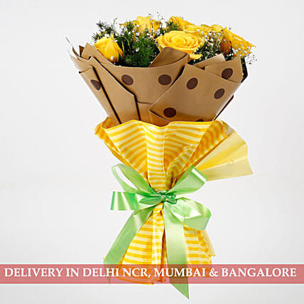 Bright 10 Imported Yellow Roses Bouquet: Flower Bouquets