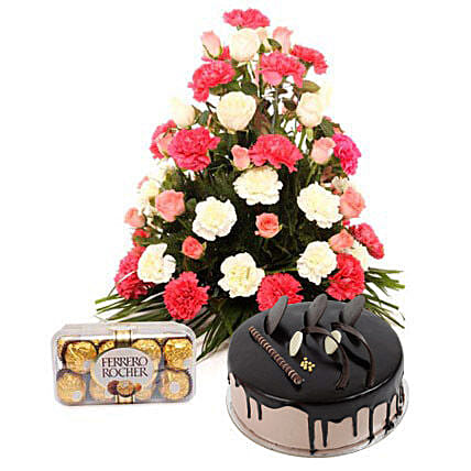 Bright Hues Hamper with Rakhi: Flowers with Chocolates