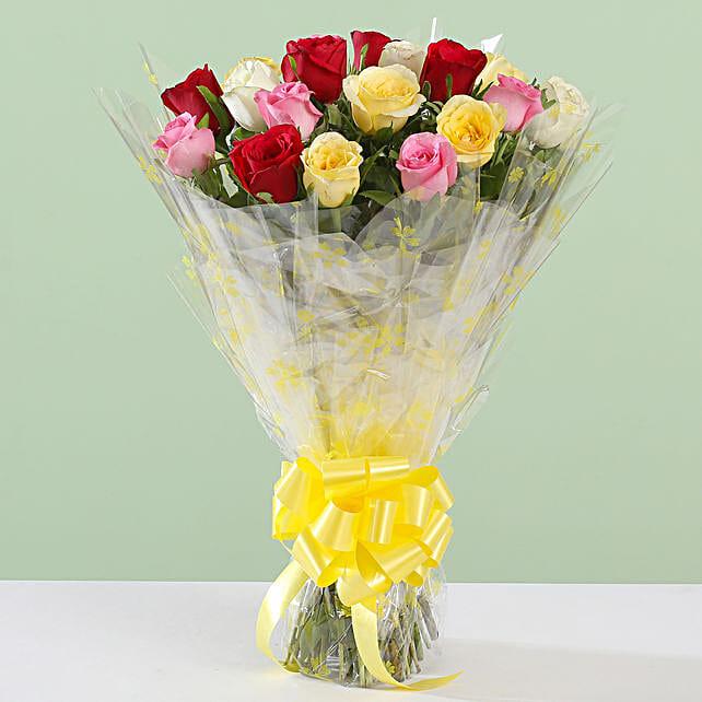 Bright Posy Of 18 Roses:
